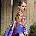 130*130 cm 2017 de la Marca de Lujo sjaal bohemio Étnico Mujer Bufandas y Chales Bufanda Cuadrada de Seda de Plumas de La Corona Española Foulard