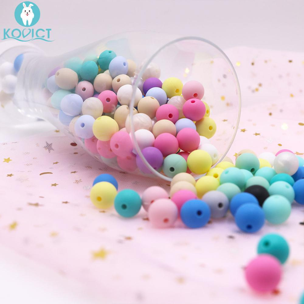 Kovict 12mm 10pc Silicone Round Beads Bpa Free Baby Teething Toy DIY Pacifier Chain Silicone Beads Teether For Necklace