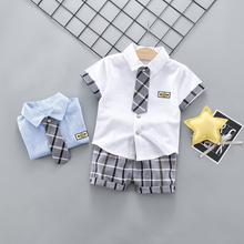 цены DIIMUU 2pcs Summer Boys Clothes Cotton Kids Clothing Solid Casual Shorts Sleeve Shirts Plaid Pants Boy Set Toddler Outfits