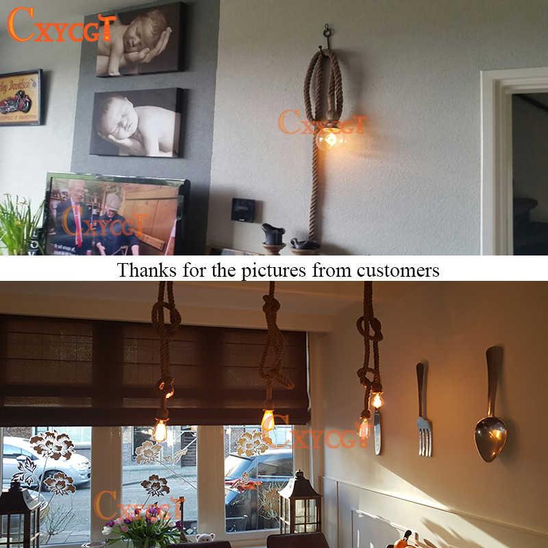 Ретро Винтаж веревка подвесной светильник лампа для лофта творческой личности промышленный светильник американский стиль