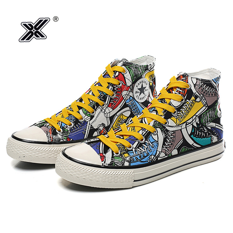 X New Fashion Hand Printed Plimsolls Canvas Shoes Men Colorful Graffiti High  top Men Sneakers