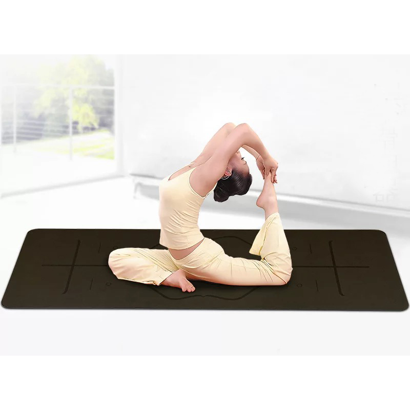 183cm*66cm*5mm Natural Rubber More Longer Comfortable Esterilla Non-Slip Position Line Lose Weight Exercise Mat Fitness Yoga Mat yoga pilates mat pu 5mm for beginners and seniors super non slip widened workout yoga pilates gym exercise fitness gym mat