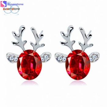 SUSENSTONE Crystal Earrings luxury three dimensional Christmas reindeer earing #4-5