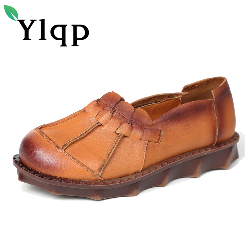 Ylqp Women's Shoes 2017 Autumn New Handmade National Style Retro Genuine Leather Flat Shoes Mother Soft Bottom Comfortable Flats new national wind flowers handmade genuine leather shoes women retro soft bottom flat shoes summer canvas ballet flats k62