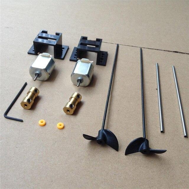 Double Motors RC Boat Drive Set 130 Motor+Motor Seat+Copper Coupling+15CM Shaft+Propellers Kit for DIY Model Ship Kits