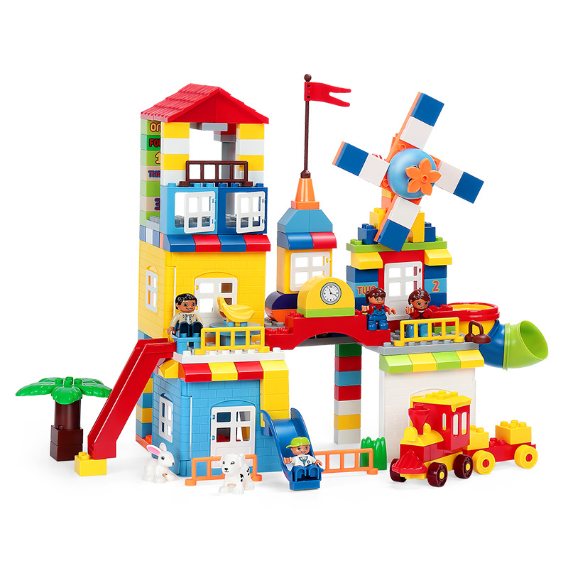 216Pcs DIY Colorful City House หลังคา Big Particle Building Blocks ปราสาทของเล่นสำหรับเด็กใช้งานร่วมกับ Duploe รถไฟสไลด์-ใน บล็อก จาก ของเล่นและงานอดิเรก บน   2