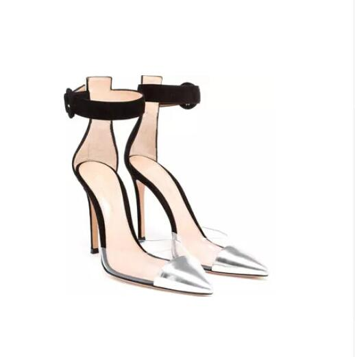 ФОТО 2016 Classical Top Selling Summer Concise Elegant Women Glossed Silver Leather Pointed Toe Shoes High Heel Ankle Strap Sandals