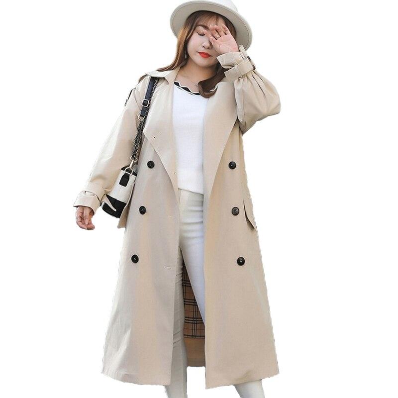 Grande taille Trench Coat femmes 2019 printemps automne solide couleur à manches longues coupe-vent femme ceinture mince grande taille Long Trench Coat