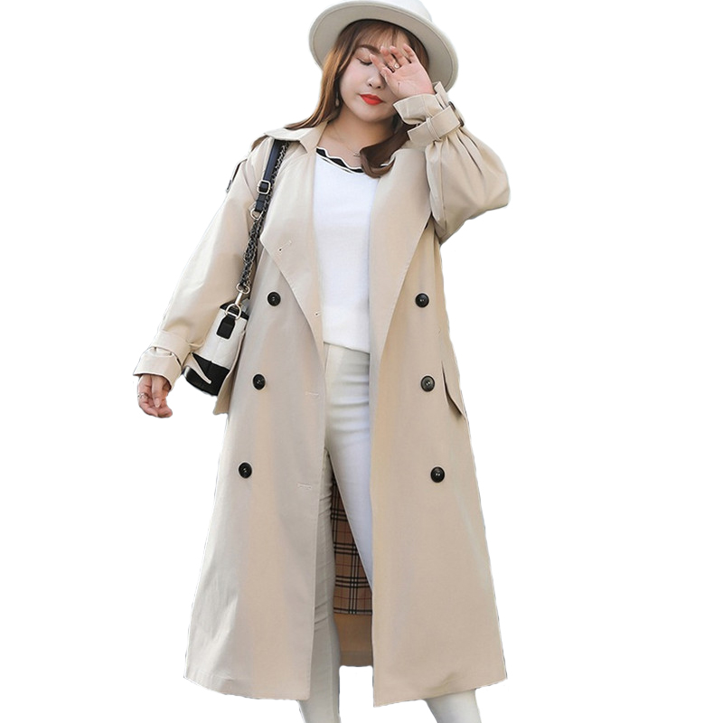 Large Size Trench Coat Women 2019 Spring Autumn Solid color Long sleeve Windbreaker Female Belt Slim Plus size Long Trench Coat