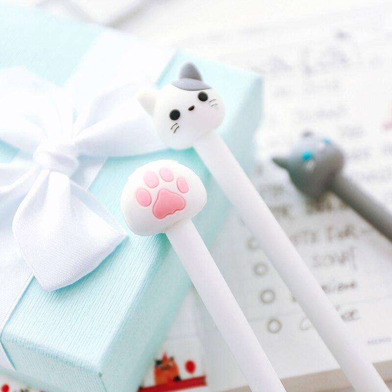 28 Pcs Lot Cute Cat Pen Cartoon Claw Gel Pens 0 5mm Black Lovely Kitties Stationery Office Accessories School Supplies in Gel Pens from Office School Supplies