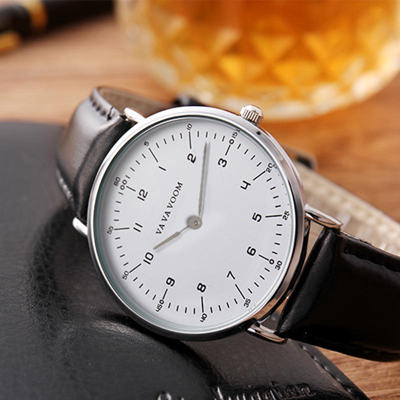 VAVA VOOM luxury brand waterproof male quartz watch with leather strap calendar for men
