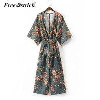 Free Ostrich 2017 Women Vintage Kimono Shirts Sashes Side Split Long Sleeve Ladies Autumn Outerwear Long