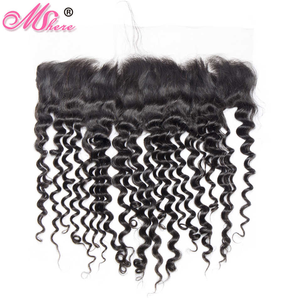 13*4 Ear to Ear Peruvian Deep Curly Lace Frontal with Baby Hair Mshere Remy Hair Pre Plucked Lace Closure Natural Black