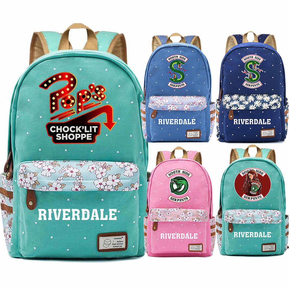 Snake Pop's chock'lit shoppe Riverdale Flowers Dot Boy Girl School bag Women Bagpack Teenagers Schoolbags Canvas Femme Backpack