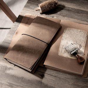 Image 3 - Блокнот для путешествий из воловьей кожи tn, серый блокнот из натуральной кожи, винтажный планер, персональный дневник в горошек, Обложка для книг