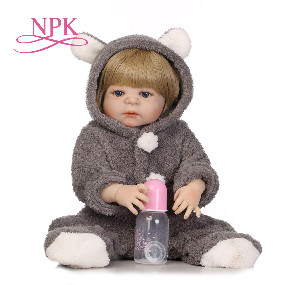 NPK 57cm new arrival realistic full silicone baby doll with lovely stress best kids gift silicone reborn baby dolls