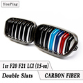 CF Carbon Fiber w/ 3-Color of Double Slat Front Grilles Fit For F20 F21 LCI BMW 1-Series, 2015-up
