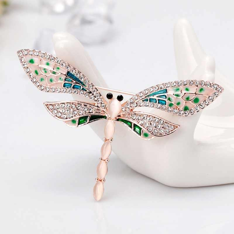 New Creative Crystal Dragonfly Brooches For Women Cute Enamel Insect Banquet Weddings Brooch Pins Gifts Dress Accessories