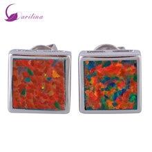 hot deal buy fashion bijoux square orange opal silver jewelry women's earrings cute tortoise fashion jewelry e394