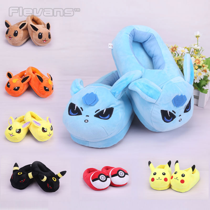 Anime Cartoon Eevee Umbreon Sylveon Mudkip Snorlax Psyduck Adult Plush Slippers Home House Winter Shoes Soft Toys Dolls