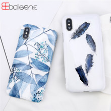 Balleen.E Case For iPhone X Case For iPhone 6S 6 7 8 Plus Summer Artistic Leaves Feather Smooth Soft IMD Phone Cases Coque Capa(China)