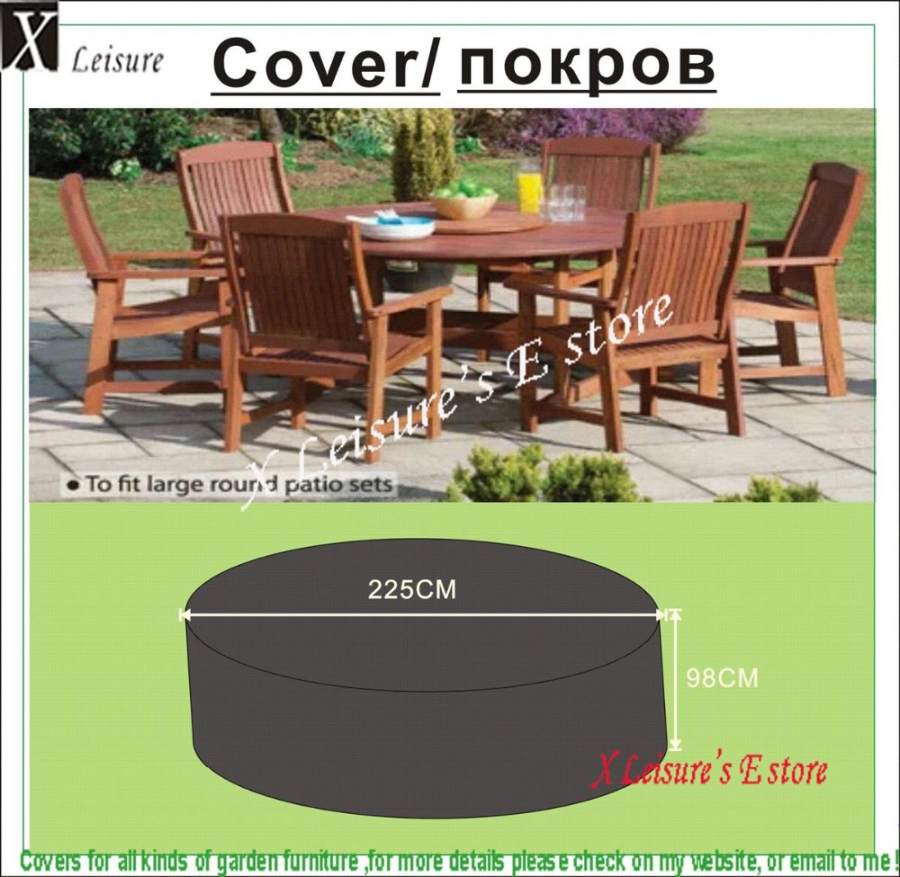 Cover for garden table and chairs - Wooden Round Garden Table