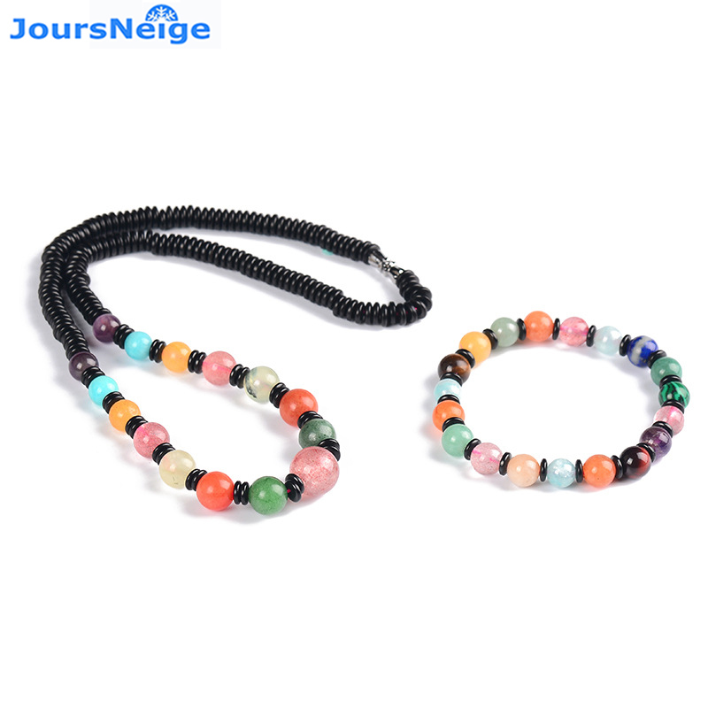 Wholesale More Treasure Natural Crystal Jewelry Sets Tower Necklace Bracelet Crystal Lucky for Women Girl Simple Jewelry