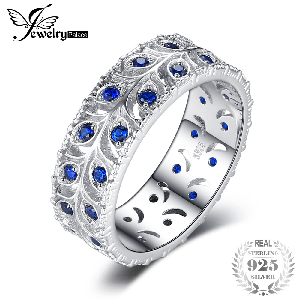0.5ct Created Blue Spinel Engagement Wedding Band Ring For Women Real 925 Sterling Silver Fashion Jewelry Gift