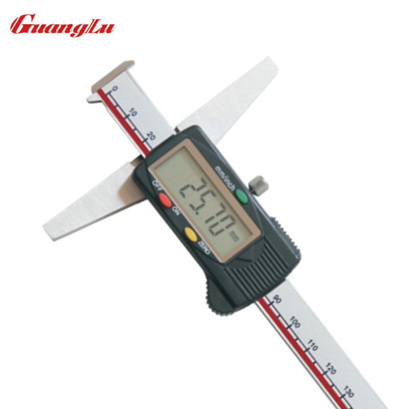 GUANGLU Double Hooks Type Digital Depth Gauge 0 150/0.01mm inch Electronic Stainless Steel Micrometer Calipers Measure Tools