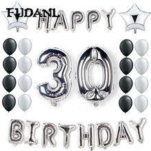 Happy Birthday Party Balloons 18inch Star Balloon Letter Air Balloons 1/21/30/40/50  Anniversary Decor Birthday Party Supplies 6 page happy 30 40 50 birthday paper sticker 30 40 50 year old event party gift and candy food stickers anniversary party decor