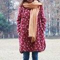 Женщины С Длинным Рукавом Зимнее Пальто Мори Девушка Теплый Имитация Овечьей Шерсти Верхняя Одежда Маленький Цветок Куртки Китайский Стиль Случайные Длинный Жакет