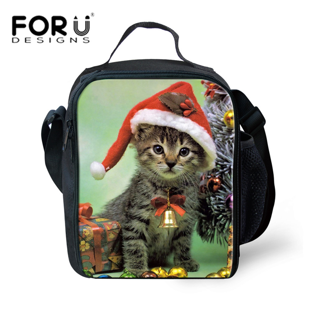 Christmas Gift Kids Picnic Bags for Girls Kitty Cat Printing Lunch Thermal Insulate Cool ...