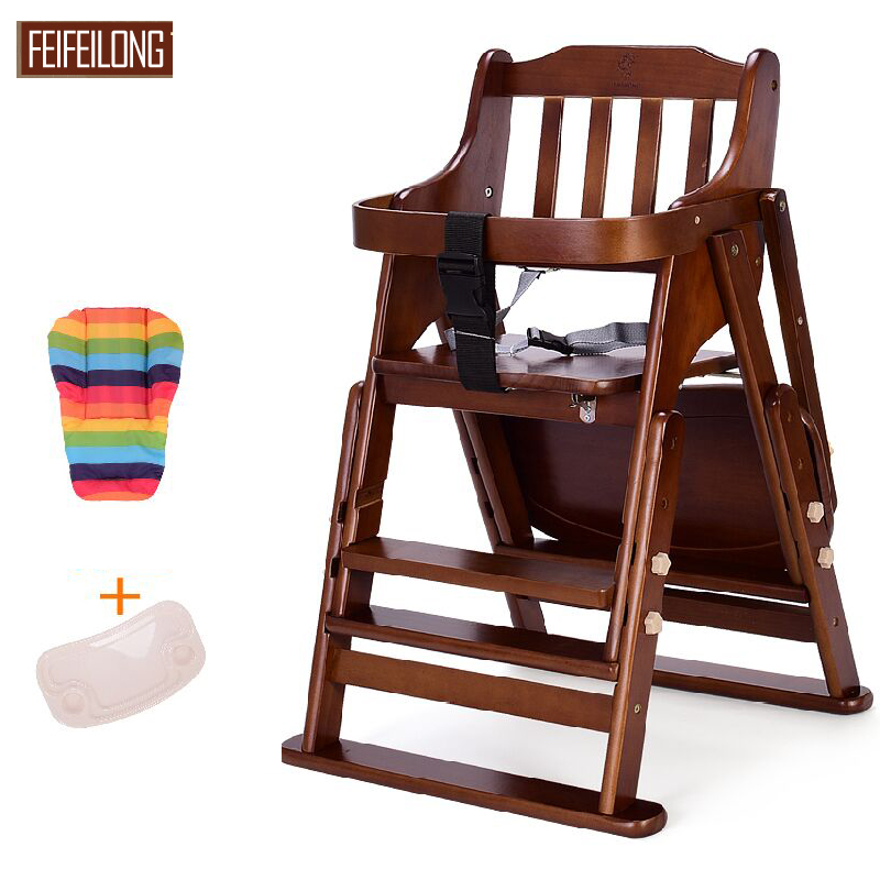 Pine Wodden Baby Dining High Chair Adjustable Baby Seat
