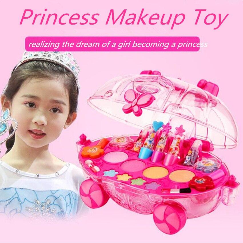 Princesse maquillage outils ensemble enfant cosmétiques Kit jouets pour enfants meilleur anniversaire noël cadeau filles Soluble dans l'eau beauté semblant jouer