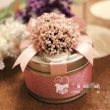 Wedding candy box bag packaging European tinplate Lavender round iron
