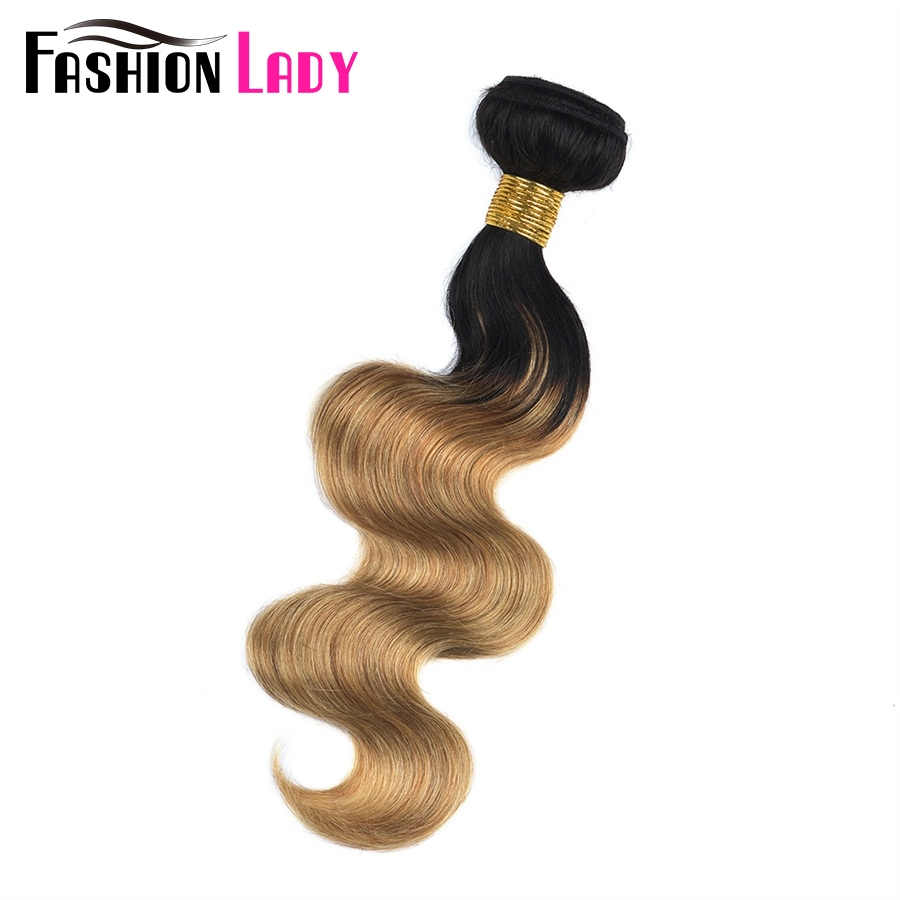 FASHION LADY Pre-Colored One Piece Malaysian Body Wave 100% Human Hair Weave Ombre Color T1B/27 Human Hair Bundles Non-Remy