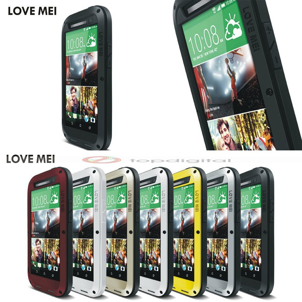 LOVE MEI Shockproof Dirtproof Waterproof Metal Case For HTC One 2 M8 (5)