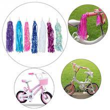 2 sztuk kolorowy rower rowerowa jazda na rowerze trójkołowy kierownica frędzle dla dzieci dziewcząt chłopców kierownica serpentyny frędzle tanie tanio EACHGO CN (pochodzenie)