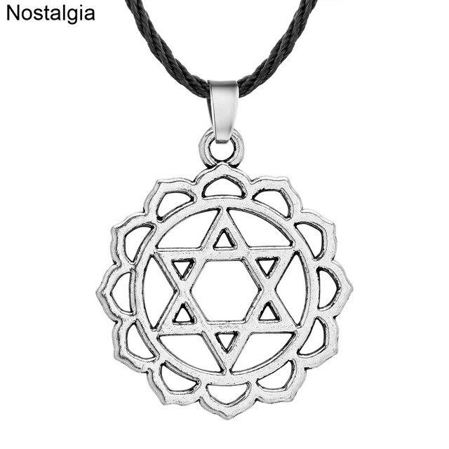 Nostalgia Star Of David Jewish Pendant Necklace Lotus Flower Yoga