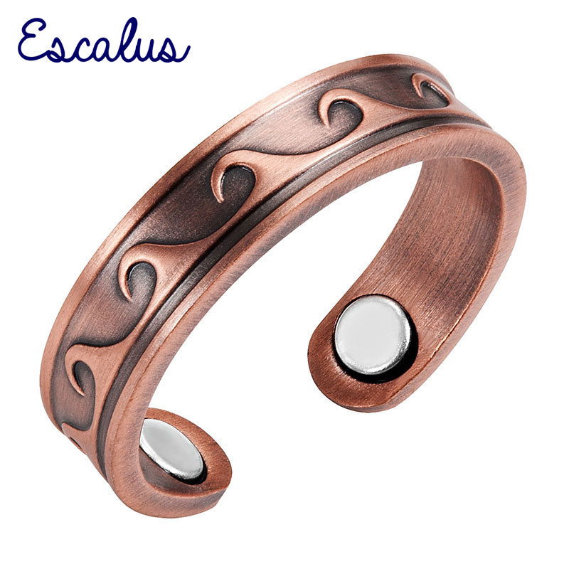Escalus Antik Kupfer Frauen Ring Wellenmuster Magnetic Trendy Resizable Weibliche Magnete Schmuck Charm Finger Wear Ringe