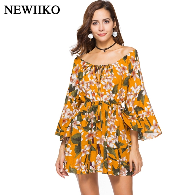 Fashion Spring summer women Printing pattern Bohemia beach wind sexy Slash-Neck Flare long-sleeve Casual Vacation party dress