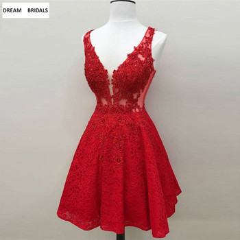 Sexy Deep V-Neck Cocktail Party Dresses Red Beading Lace Vestidos Coctel 2019 Knee-Length Sweetheart Vestido Cocktal