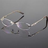 Gold Eyeglasses Frame Women Rimless Glasses Frame Women Spectacles Optical Prescription Eyewear Frames Eyeglass Frames grau