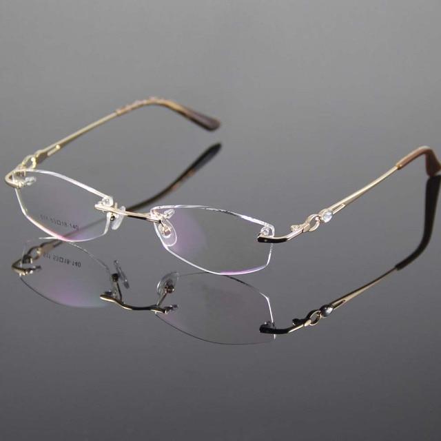 b1c4be085f Gold Eyeglasses Frame Women Rimless Glasses Frame Women Spectacles Optical  Prescription Eyewear Frames Eyeglass Frames grau