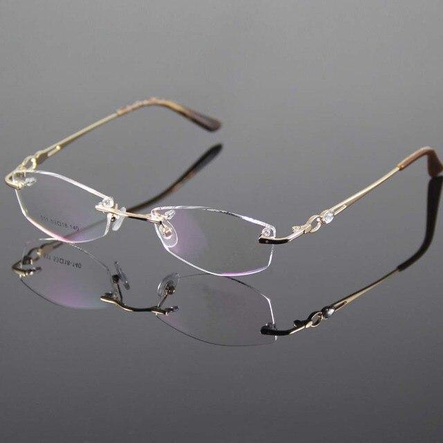 1b002a9e86 Gold Eyeglasses Frame Women Rimless Glasses Frame Women Spectacles Optical  Prescription Eyewear Frames Eyeglass Frames grau