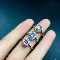 KJJEAXCMY fine jewelry 925 Pure silver Mosaic moonstone ring natural gemstone lady's hand decoration