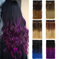Clip in Hair Extensions Sexy Long Deep Wavy Curly Purple Gradient Color Hairpieces Synthetic Ombre Hair Piece for Women Gift B40