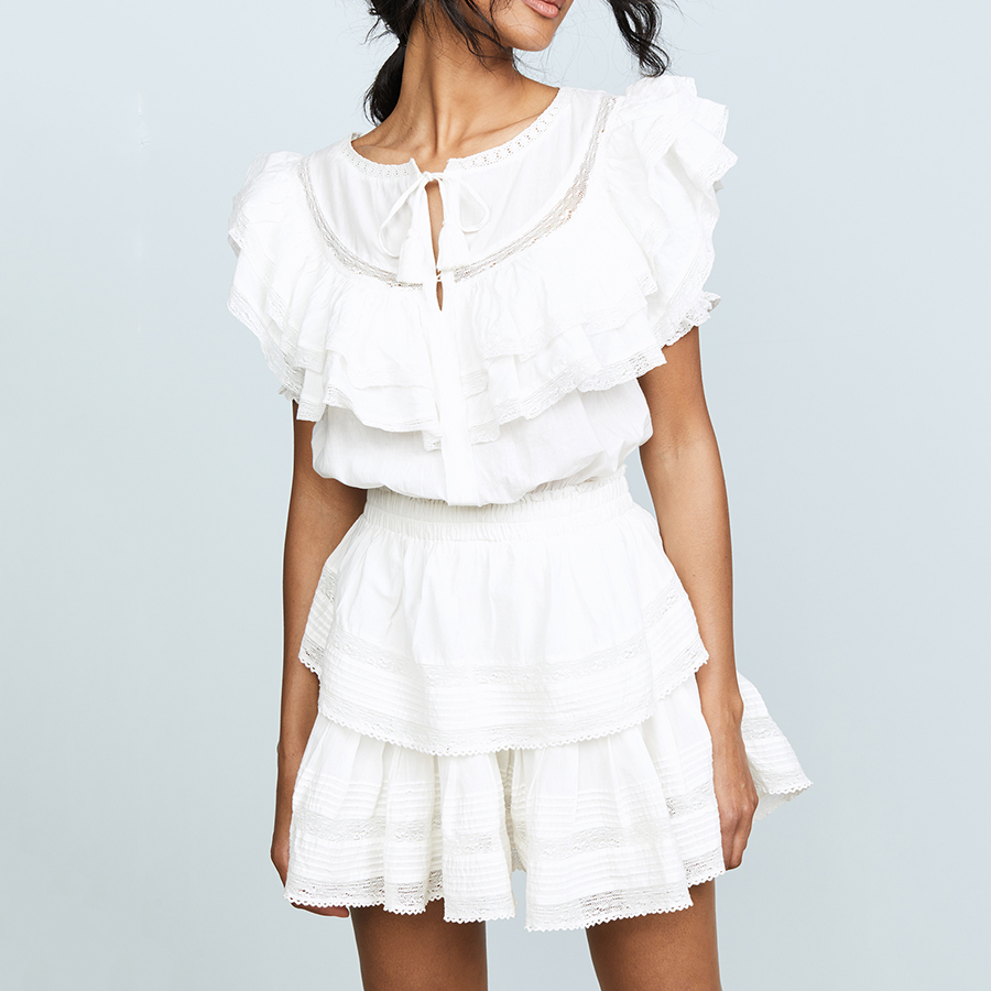 2019 Summer New Design Solid White Elegant Women Dress Cascading Ruffle Drawstring Draped Vacation Beach Seaside