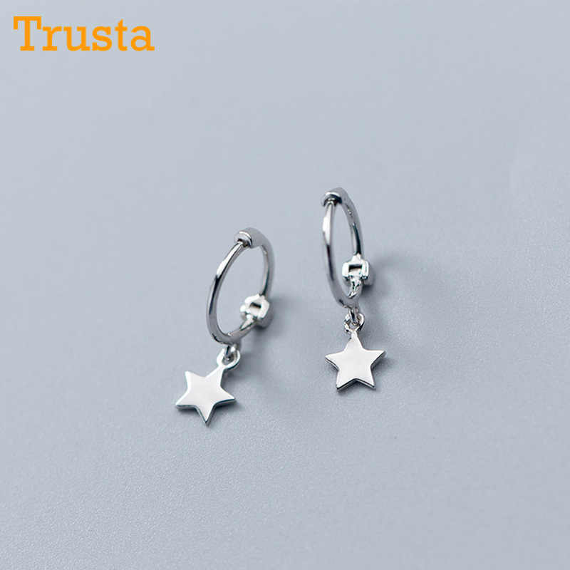Trusta 2018  100% 925 Solid Sterling Silver Star Small Stud Earrings For Girls Teens Gift Womens Fashion Jewelry DS900