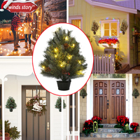 Christmas Tree Decoration Indoor Outdoor Traditional Artificial Green Flash Xmas Trees Hanging Trees 65cm 2 1